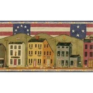 Patriotic Shaker House Wallpaper Border JB0736B:  Home