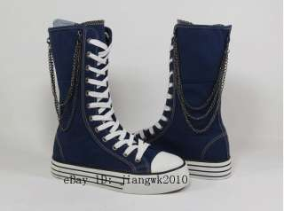 New Canvas Lace Up Punk Emo Mid Calf Skate Sneaker Boot Black blue