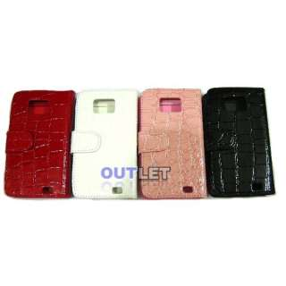 Red Crocodile Wallet Leather Case 2 card slots For Samsung Galaxy S2
