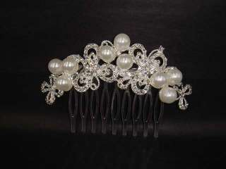 Bridal Rhinestone Faux Pearl Headpiece crystal Hair Tiara Comb RB367