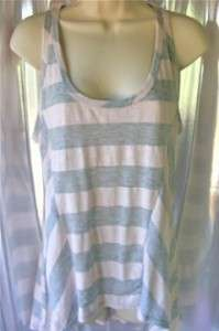 THREADS Womens Soft Gray Pink Stripes Shirt Tank Top CUTE Large