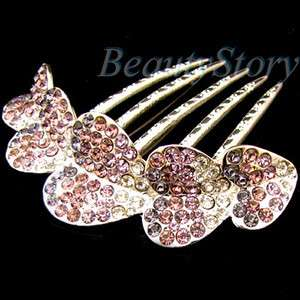 Item  1pc rhinestone crystal heart French twist hair comb