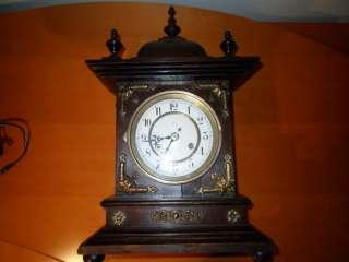 Antique Unghans J German Wooden Mantle Clock 1800s