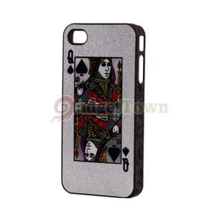 POKER Q SPADES HARD CASE for Apple iPhone 4 4G SILVER