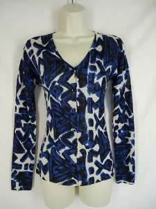 Fuzzi Jean Paul Gaultier Blue Silk Cardigan Sweater XS