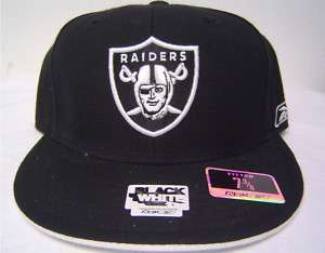 Oakland Raiders Black Flatbill Fitted Cap White Under