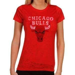 Chicago Bulls Ladies Sheer Pride Burnout Premium T Shirt