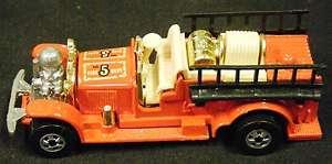 Hot Wheels OLD NUMBER 5 FIRE TRUCK, Mattel 1980   Vintage Die Cast