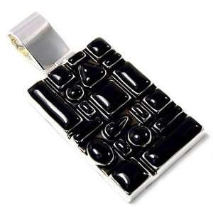 Black Epoxy Rectangular Pendant Necklace Fashion Jewelry