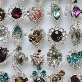 jewelry lots 20pcs crystal rhinestone silver plated ring