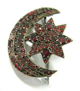 TURKISH HALF MOON STAR OTTOMAN TURKEY GARNETS PIN BROOCH »