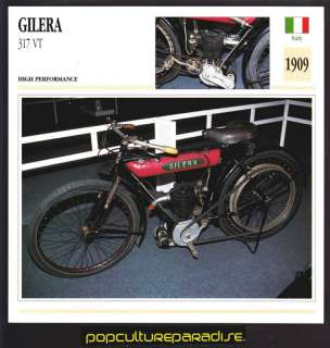 1909 GILERA 317 VT MOTORCYCLE ATLAS PICTURE SPEC CARD
