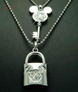 Silver DISNEY MICKEY MOUSE Key & Love Lock LONG NECKLACE use SWAROVSKI