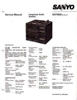 SANYO ORIGINAL Service Manual DXT 600 FREE USA SHIP