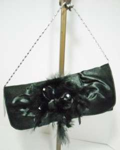 Black Satin Evening Bag Clutch with Feather Detail