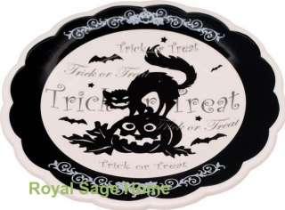 Halloween Witchs Brew Black Cat Dinner Salad Plate S/4