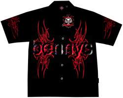 NEW Red Tribal Flames biker shirt, Dragonfly, Night, 2X