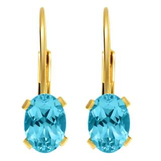 00 Ct Blue Topaz Gold Plated Leverback Earrings 7X5MM