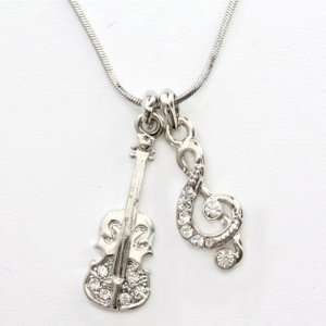 Music Note and Guitar Charm Pendant Necklace Fashion Jewelry Jewelry