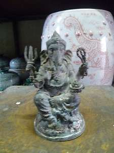 Ganesh ganesha hindu god bronze silver statue old amazing of Thailand