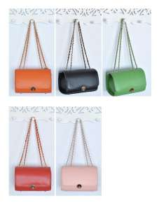 Real Calf Leather Candy Camera Chain Shoulder Bag 5 colors