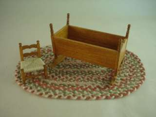 Rocking Cradle Antique Style, Child Chair   American Miniature Artist