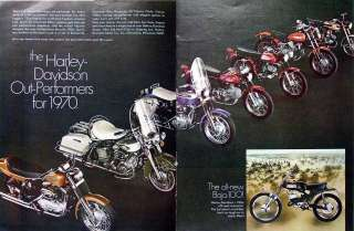 vintage print advertising for 1970 Harley Davidson motorcycle models