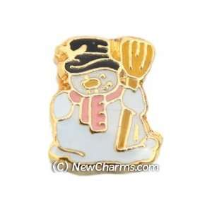 Snowman With Broom Floating Locket Charm Jewelry