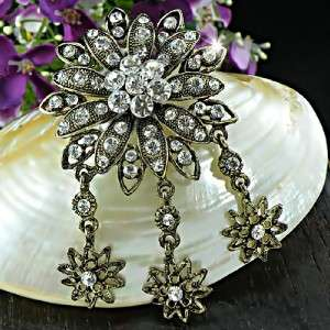Vintage Style Flower with Clear Swarovski Crystals Brooch/Pin BH238