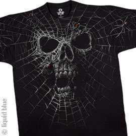 New BLACK WIDOW SKULL T Shirt