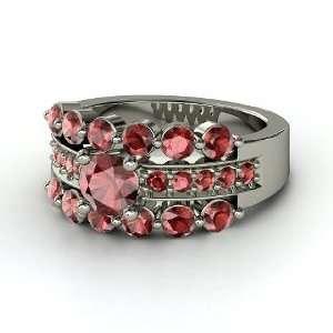 Alexandra Ring, Round Red Garnet Sterling Silver Ring