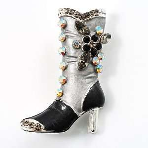 Charcoal Crystal High Boot Pin Brooch Jewelry