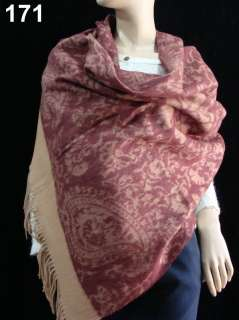 Womens Gifts Stole Jacquard 100%4 ply Cashmere Shawl Wrap Rust red A59