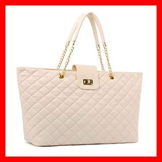New Big Qulting Gold Chain Sholder /Tote Bag RED WHITE
