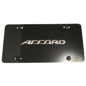 Honda Accord Logo Aluminum Black Front License Plate