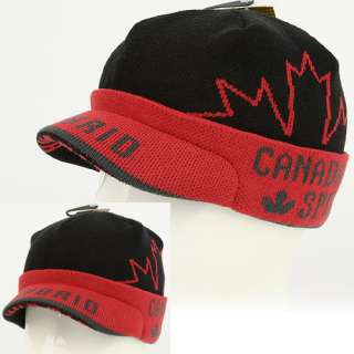 Visor Beanie Chullo Skull Knit Cap Hat CANADA rm BLACK