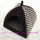 New Fashion Classical Grid Pet Dog Cat House Bed Tent Chocolate Small