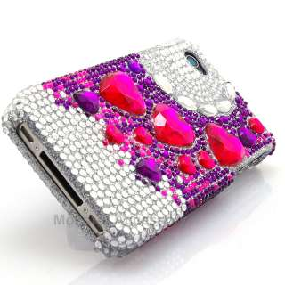 Diamond Purple Pink Hearts Bling Hard Case Cover For Apple iPhone 4 4S