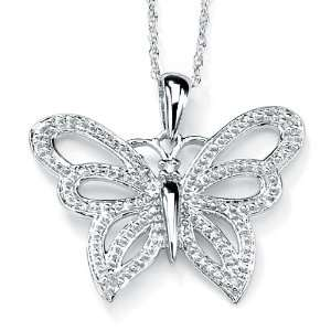 Lux 10k White Gold Diamond Accent Butterfly Pendant Lux