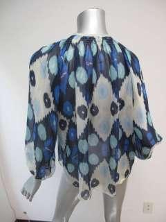 Tucker Blue/Beige Ikat Print Sheer Button Down Long Sleeve Blouse S/M
