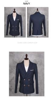 Bros Mens Luxury 2Button Slim Double jacket Blazer NAVY SZ   XS,S,M