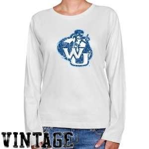 NCAA Washburn Ichabods Ladies White Distressed Logo Vintage Long