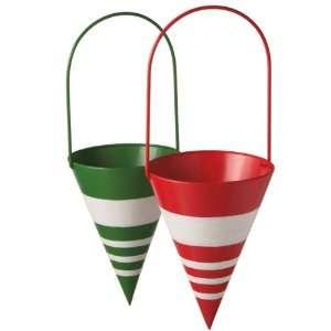Multi Color Striped Metal Cone Christmas Ornaments 16