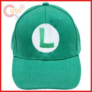 Super Mario Luigi Baseball Cap / Adjustable Hat  Cotton Canvas (Kids
