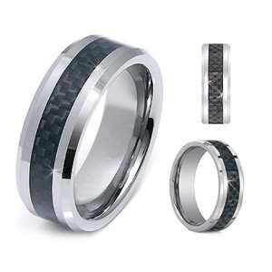 8mm Mens Beveled Edge Tungsten Carbide Ring Wedding Band with Carbon