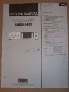 Sansui Service/Repair Manual~A 909 Integrated Amplifier