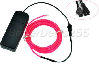 Flexible Neon Light Glow EL Wire Rope Tube Party Pink