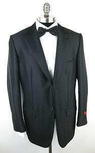 New ISAIA NAPOLI Base V Signature Wool Silk Black Tuxedo Coat Jacket