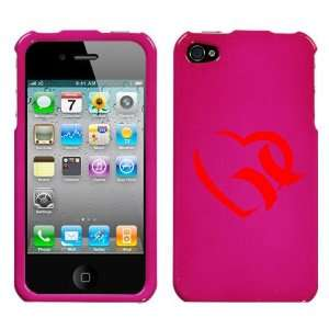 APPLE IPHONE 4 4G RED HURLEY HEART ON A PINK HARD CASE