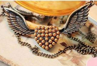 Vintage Wing Pearlescent Heart Style Pendant Necklace Charm